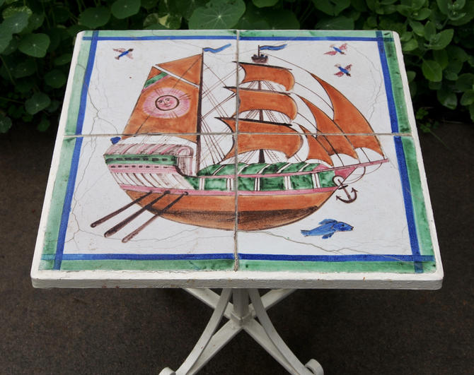 Vintage Wrought Iron Tile Table With Ship by Walkingtan