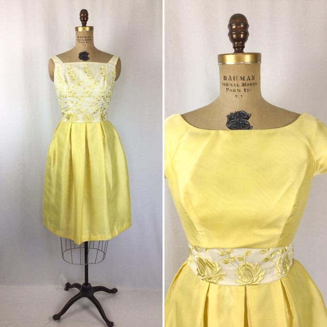 Vintage 50s dress | Vintage sunshine yellow two piece dress | 1950s fit and flare with over jacket brides maids party dress by BeeandMason