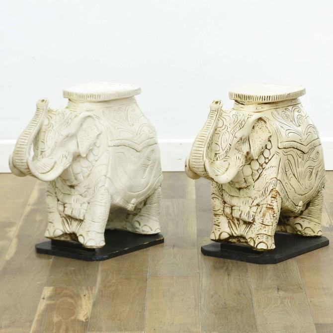 Pair British Colonial Molded Elephant End Tables