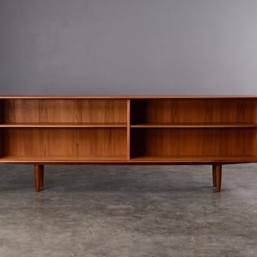 7ft Mid Century Teak and Glass Credenza Sideboard Cabinet Shelf by MadsenModern