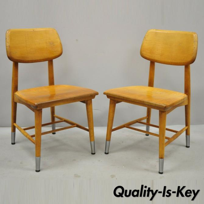 Pair Vintage Thonet Style Bentwood Maple Dining Side School Chairs