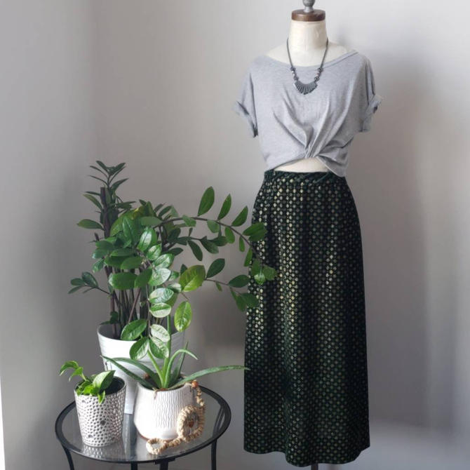 Vintage Handmade Velour Embellished Green and Gold Maxi Skirt by LoveOnceAgain