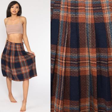 Plaid Midi Skirt School Girl Wool Blend Pleated Tartan High Waisted 70s Navy Blue Brown Preppy Checkered Retro Vintage 1970s Small S by ShopExile