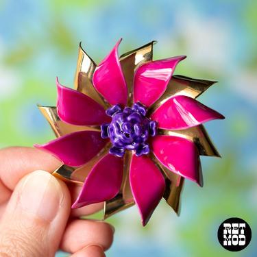 Unique Vintage 60s 70s Magenta Pink, Purple, Gold Enamel Flower Pin Brooch by RETMOD