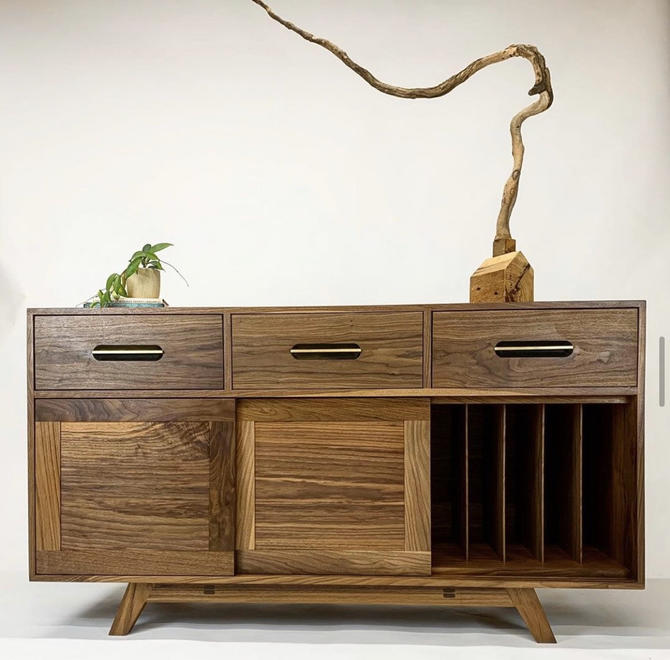 Record cabinet, record storage, vinyl cabinet, vinyl storage, credenza, record stand by WoodbeeWoodworks
