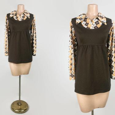 VINTAGE 60s 70s Babydoll Swing Top With Argyle Sleeves and Collar | 1960s MOD Empire Waist Tunic Sweater | Brown and Gold | L XLor Maternity by IntrigueU4Ever