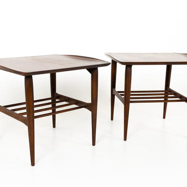 Grete Jalk Style Bassett Mid Century Danish Curved Edge Walnut Side End Tables - A Pair - mcm by ModernHill
