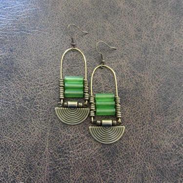 Green sea glass earrings, chandelier earrings, statement earrings, bold earrings, etched brass earrings, tribal ethnic earrings, chic by Afrocasian