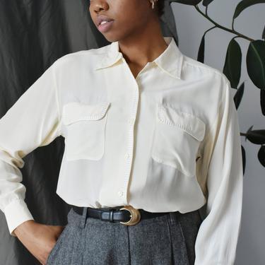 vintage 90s silk blouse, minimal cream button down shirt, size M / L by ImprovGoods