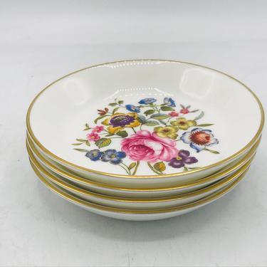 "Vintage Set of (4) Royal Worcester BUTTER PAT PLATES Spring Flowers & Gold Edges 4"" D by JoAnntiques"