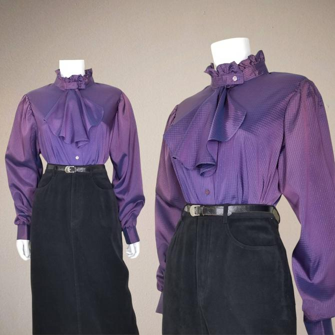 Vintage Steampunk Blouse, XL Large / Iridescent Purple Jabot Collar Blouse / Ruffled Neck Cocktail Blouse / Victorian Revival Button Shirt by SoughtClothier
