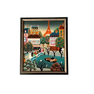 Mid Century Paris Street Scene Painting by FunkyRelic