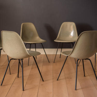 Set of Six Eames First Generation Seafoam Green Fiberglass DSX Dining Chairs by MidcenturyMaddist