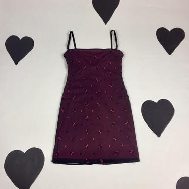 90's embroidered net slip dress 1990's pink black sheer mesh overlay spaghetti strap bodycon sqaure neck daisy goth embroidery mini dress 6 by verybestvintage
