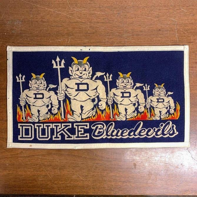 Vintage 1950s Duke University Blue Devils Pennant Banner Chicago Pennant Company RARE by OverTheYearsFinds