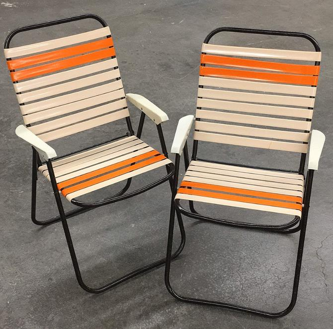 Vintage Lawn Chair Set Retro 1970s Mid Century Modern + Creme + Orange + Vinyl Straps + Black Metal Frames + Set of 2 + Fold Up + Outdoor by RetrospectVintage215