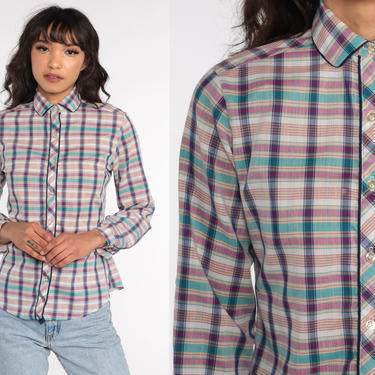 80s Plaid Shirt Cotton Purple Turquoise Checkered Blouse 1980s Peter pan collar Shirt Vintage Button Up Top Long Sleeve Small by ShopExile