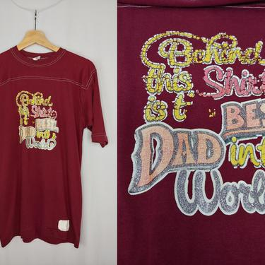 Vintage 80s Soffe Maroon Best Dad in the World Short Sleeve T-Shirt - Eighties Heat Press Iron On Tee - Fits like Men's Small by JanetandJaneVintage