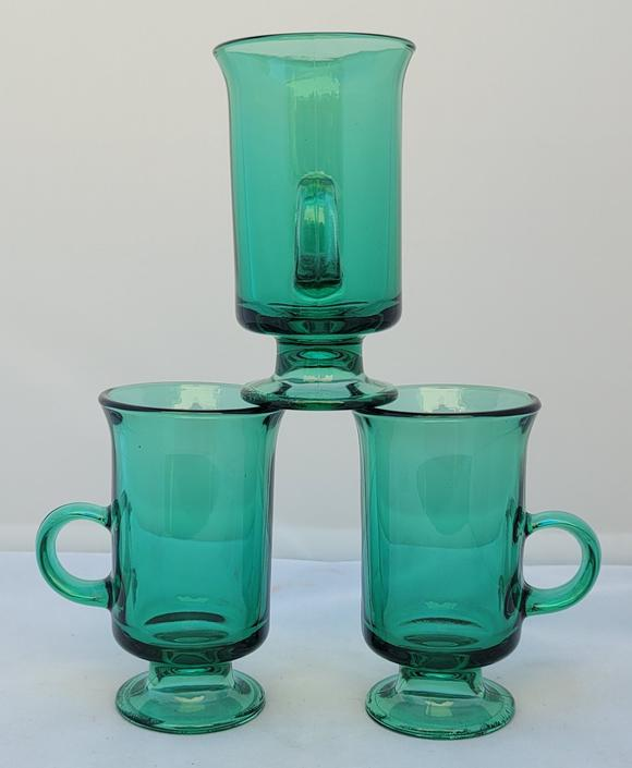 Vintage Anchor Hocking Green Footed Glass Mugs