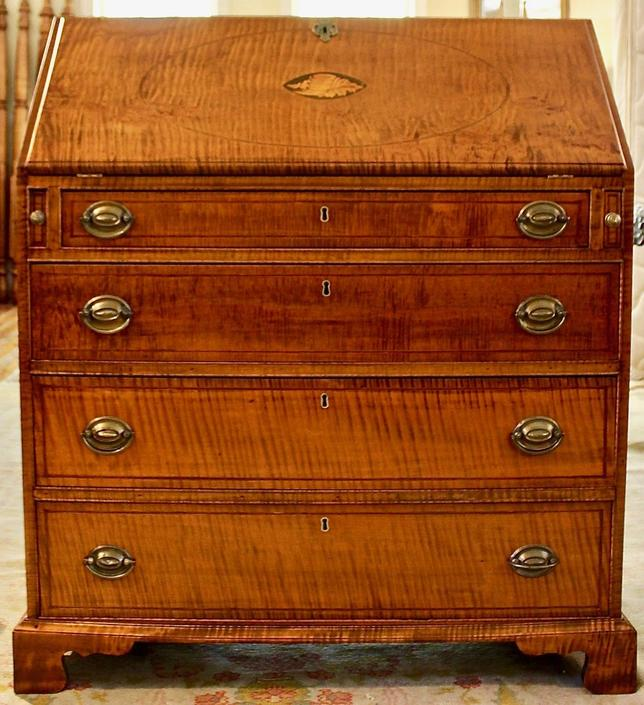 Slant Front Desk in Tiger Maple with Shell Inlay, Ohio Circa 1800