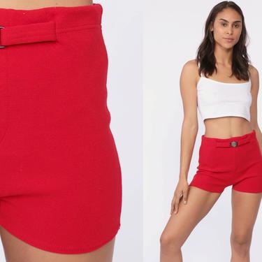 fee345dcd310b Hot Pants Bikini Bottoms Swim Shorts High Waist 70s Red Boyshort NAUTICAL  Vintage 1970s Hotpants Belted