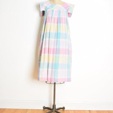 vintage 80s caftan dress pastel plaid babydoll lounge midi gown cotton S M rainbow clothing by huncamuncavintage