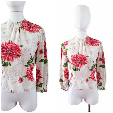 40s Floral Print Rayon Blouse / 1940s Vintage Short Sleeve Novelty Print Button Up Shirt / Large / Size 14 by CheshireVintageShop