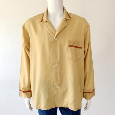 Mustard Button Down Sleep Shirt w/ Knight Embroidery