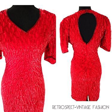 Vintage RED beaded dress, sequin holiday dress w/keyhole back dress, red cocktail party dress,  embellished sheath dress, size  s 6 eur 34 by RETROSPECTNYC
