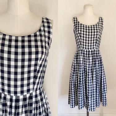 Vintage 1950s Black & White Gingham Dress / XS by MsTips