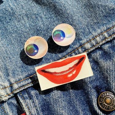 Vintage Lenticular Eyes & Mouth Pins Set
