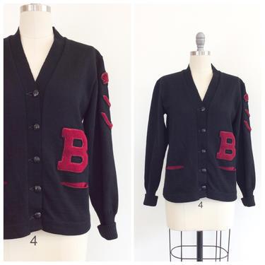 50s Black & Red Letterman Wool Cardigan / 1950s Vintage Varsity Sweater / Medium / Size 8 by CheshireVintageShop
