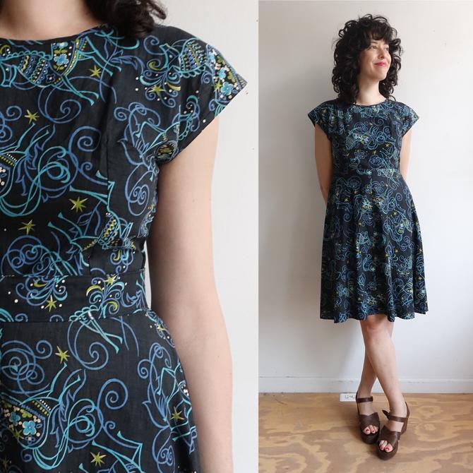 Vintage 50s Horse Print Cotton Day Dress/ 1950s Handmade Jewel Tone Novelty Print/ Size Medium by bottleofbread