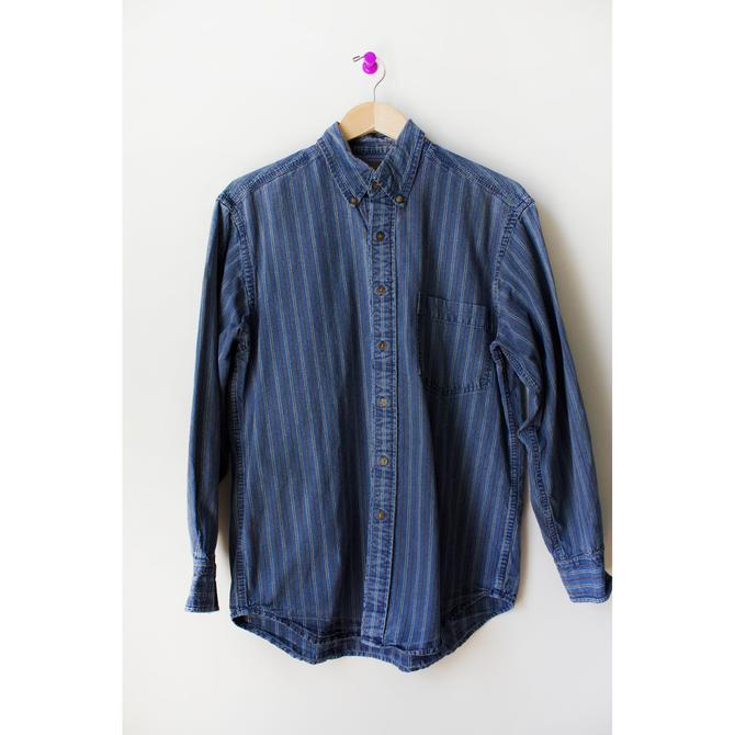Vintage 80s Blue and Brown Striped Chambray Denim Button Down Shirt Medium by theaspentree