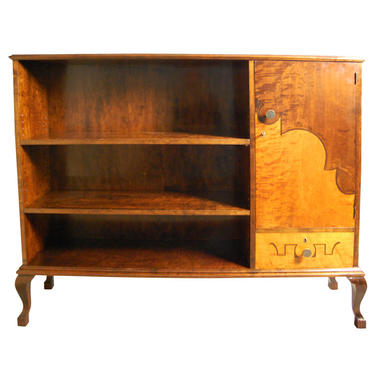 Art Deco Intarsia Dark and Golden Flame Birch Bookcase Cabinet