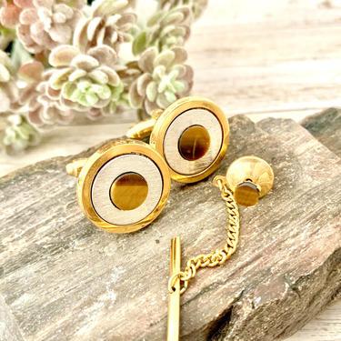 Tiger Eye Vintage Cuff Links, Tie Tac, Gold Tone, Cufflinks, Set, Vintage 60s 70s by GabAboutVintage