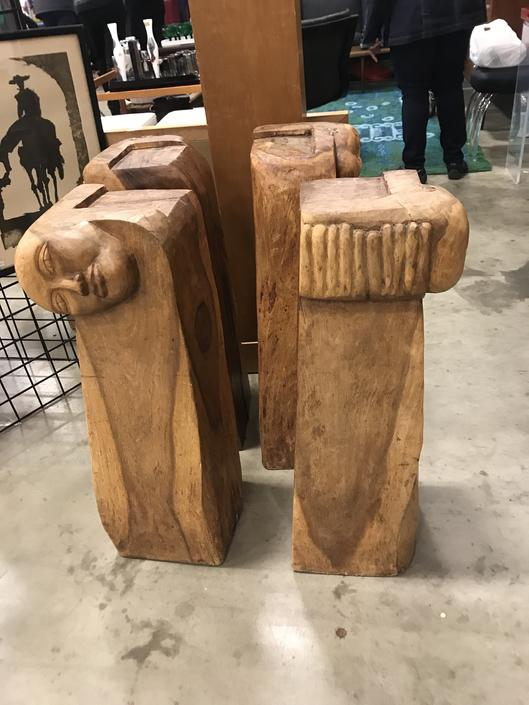 Set of 4 Mid Century hand carved Face and Hands table base