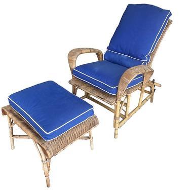 Rattan Adjustable Armchair with Ottoman, France, 1950's