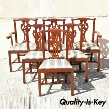 Henkel Harris Solid Mahogany Georgian Chippendale Style Dining Chairs - Set of 6