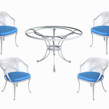 Stylish Brown Jordan 1960s Aluminum Patio Set with Four Armchairs