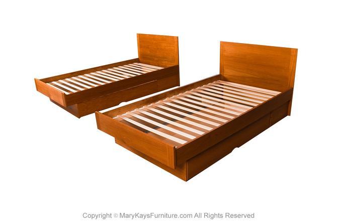 Pair Danish Teak Twin Platform Storage Beds by Marykaysfurniture
