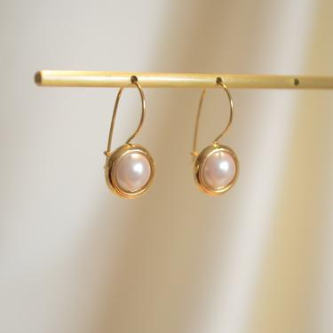 large pearl gold earring, gold pearl vintage earring, round dome pearl earring, gold pearl vintage earring, pearl gold earring, gift for her by melangeblancdesigns
