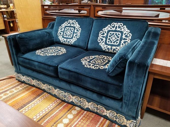 Vintage teal velvet love seat with reversible cushions