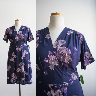 1940s Cocktail Dress / 1940s Floral Cocktail Dress / WWII Era Dress / Purple Floral Dress Large / Plus Size Vintage Dress / 40s Dress Large by milkandice
