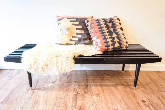 Gorgeous Vintage Scandinavian Black Slatted Bench / Coffee Table with Original Brass Feet and Cushions by PortlandRevibe