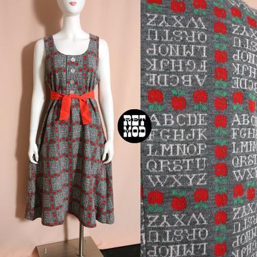 Unique Vintage 60s 70s Gray Knit ABC Apple Novelty Print Jumper Tent Dress by RETMOD