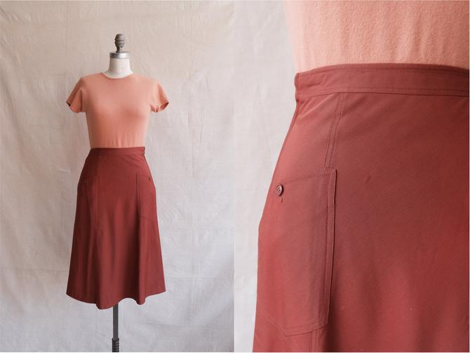 Vintage 70s Cacharel Gabardine Rust Skirt/ 1970s High Waisted A Line Skirt with Pockets/ Size XS 24 by bottleofbread