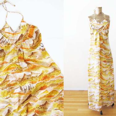 Vintage 60s Hawaiian Rayon Maxi Dress S M - 1960s Yellow Orange Tropical Backless Maxi Sundress - Tiki Vacation Dress - Halter Maxi by MILKTEETHS
