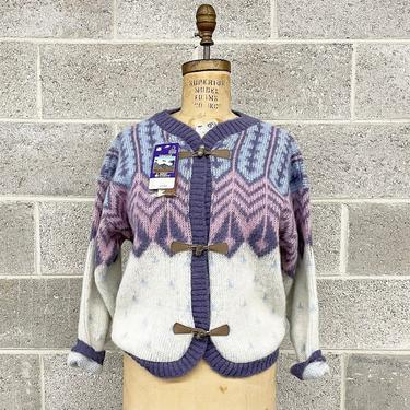 Vintage Cardigan Retro 1980s Alafoss of Iceland + Icewool + Size XS + Deadstock + Fair Isle + Toggle Closure + Icelandic + Wool Sweater by RetrospectVintage215