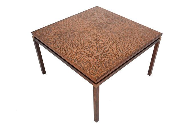 Danish Modern Mid Century Square Rosewood Copper Coffee Table By - Square copper coffee table